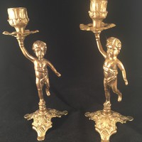 Vintage Brass French Cherub Candlestick Holder, Pair, Hollywood Regency, Shabby Chic, Romantic, Home Decor, Art Nouveau, Ornate