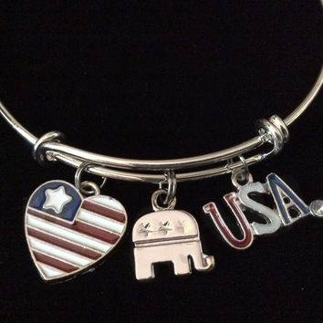 Republican Elephant USA Silver Charm Bracelet Expandable Adjustable Wire Bangle Gift Trendy