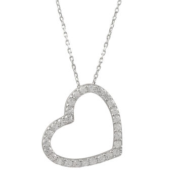 Rhodium Plated Sterling Silver, Open Heart CZ Pendant On Chain
