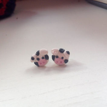 Quirky cute cow polymer clay stud earrings