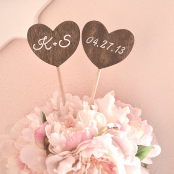 Personalized heart shaped wedding cake topper with initials and date