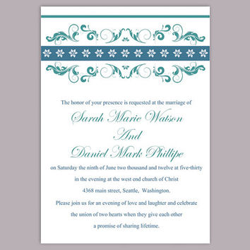 DIY Wedding Invitation Template Editable Text Word File Instant Download Printable Invitation Floral Wedding Invitation Blue Invitations