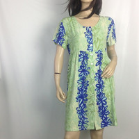90s Grunge Babydoll Dress / Short Babydoll Dress / Soft Grunge Floral dress / Hawaiian Style Print Big Hed size small 38 bust