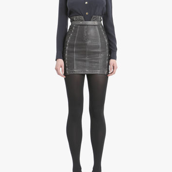 Laced leather mini skirt | Women's leather skirts | Balmain