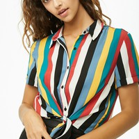 Multi-Striped Tie-Front Shirt