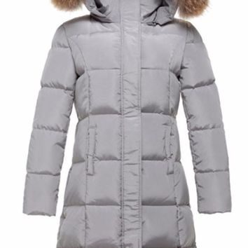 Gray Down Parka Jacket with Rabbit Fur Trim Hood