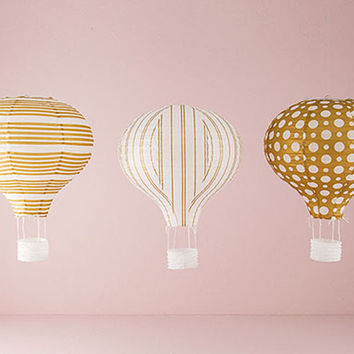 Gold and White Hot Air Balloon Lanterns (Set of 3)