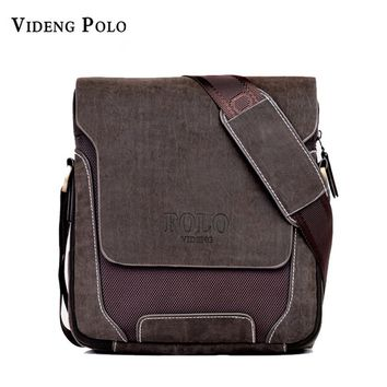 POLO brand Man Fashion Canvas Bag Men's Shoulder Bag Leather Messenger Bag