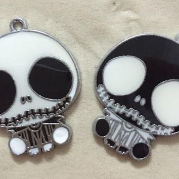 New Free Shipping 20 Pcs Cartoon The Nightmare Before Christmas black white Charm necklace Key chain Pendants DIY Jewelry Making