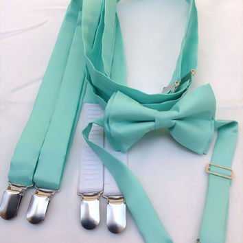 Suspenders and matching bow tie - Groomsmen bow ties - Adult bow ties - ALL COLORS