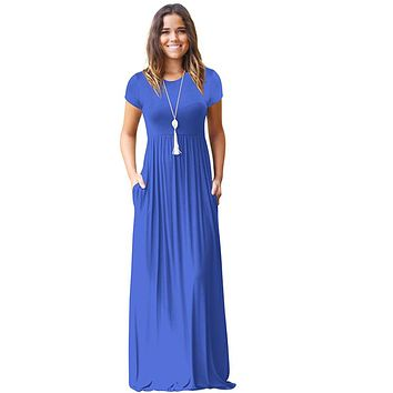 Maxi Dress For Women Short Sleeve Plus Size Long Dress O Neck Beach Dresses Female vestido longo Summer Casual Clothes