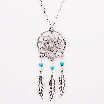 Fashion Catcher Dream Natural Stone Feather Pendant Earrings Sets Jewelry Vintage Turquoise Long Necklaces & Pendants For Women
