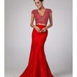 Preorder -  Red Embellished Two Piece Mermaid Gown 2015 Prom Dresses