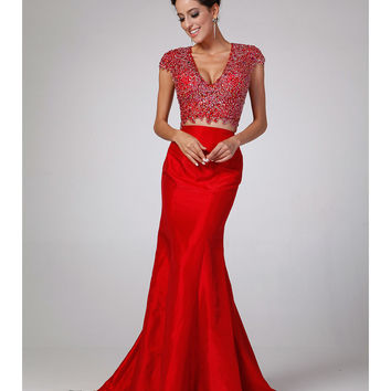 Red Embellished Two Piece Mermaid Gown 2015 Prom Dresses