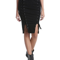Black Lace-Up Front Pencil Skirt