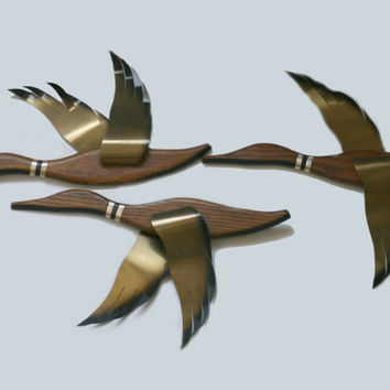 Flying Wall Ducks, Wooden Flying Ducks, 1960's Masketeers, Inc, Mid Century Decor, Wood Brass Flying Ducks