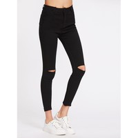 Knee Cut Frayed Hem Skinny Jeans BLACK