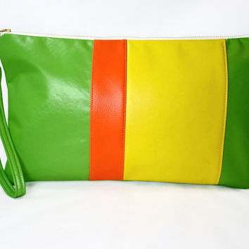 Lime Green Zippered  Vegan Leather Wristlet Clutch Rectangular Green Orange Yellow Color Block Purse Clutch Summer Clutch