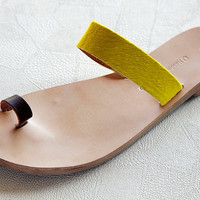 leather sandals , with a strap finger brown and a wide yellow pony skin strap , greek sandal , women's shoes , women sandals,handmade sandal