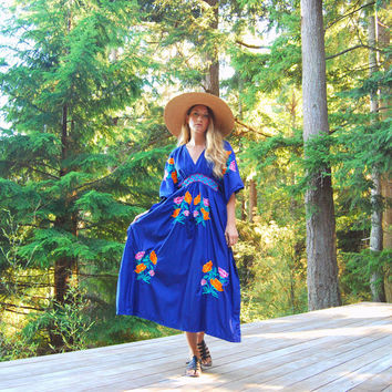 Vintage Mexican Embroidered Dress 60s 70s Ethnic Hippie Dress, Blue Floral Caftan Dress, Boho Maxi Dress, Summer Bohemian Mexican Dress