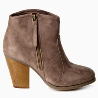 Taupe Suede Zip Side Ankle Boot