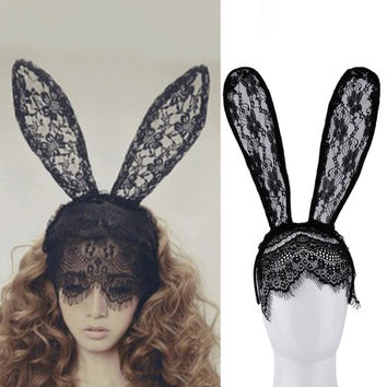 Girl Hair Bands Lace Rabbit Bunny Ears Veil Black Eye Mask Halloween Party Costume Party Headwear Hair Accessories