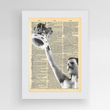 Freddie Mercury Dictionary Art Print, Queen Wall Art, Queen Dictionary Printable, Freddie Mercury Art, Music Art Print, Dictionary Music Art