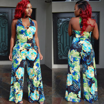 Multi Color Abstract Print Halter Jumpsuit