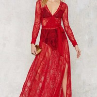 Nasty Gal One and Only Lace Maxi Dress - Red