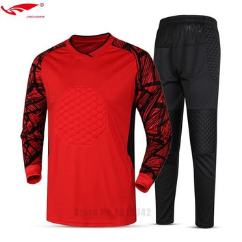 2017 New Brand Men's Soccer Goalkeeper Jersey Football Sets Goal Keeper Uniforms Suit Training Pants Doorkeepers Shirt Short 025