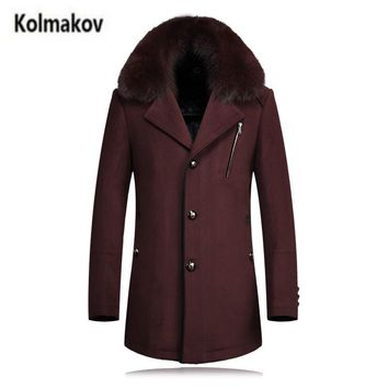 KOLMAKOV 2017 new winter high quality Fox fur collar men's wool trench coat,Men Detachable windbreaker wool overcoat,size M-4XL.