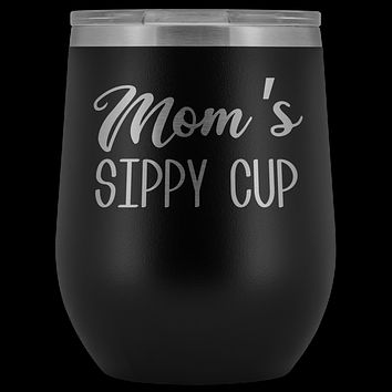 Mom's Sippy Cup Mom Wine Tumbler Funny Gifts for Mom Stemless Stainless Steel Insulated Tumblers Hot Cold BPA Free 12oz Travel Cup