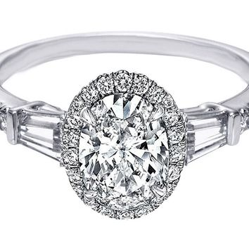 Engagement Ring - Oval Diamond Halo Engagement Ring Baguette Side Stones in 14K White Gold - ES1154OV