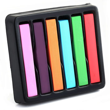 6 Colors Pastels Salon Kit Fast Temporary Short Hair Dye Chalk