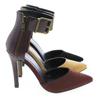 Dara D'Orsay Dual Fabric Chunky Buckle Ankle Cuff Stiletto Pumps
