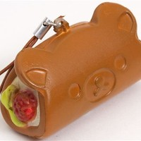 brown Rilakkuma bear mochi cream roll squishy mobile charm