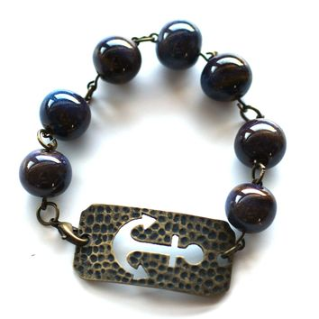 Large Anchor Bracelet // Blue Ceramic Bead Bracelet // Motivational Gift