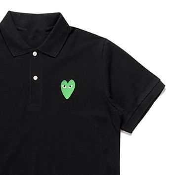 PLAY Tide brand cotton lapel embroidery love men and women models POLO shirt Black