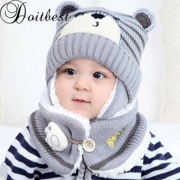 Doitbest 6 Months to 4 years old baby kids beanie bear style wool boys Knitted hats cartoon winter 2 pcs baby girl hat scarf set