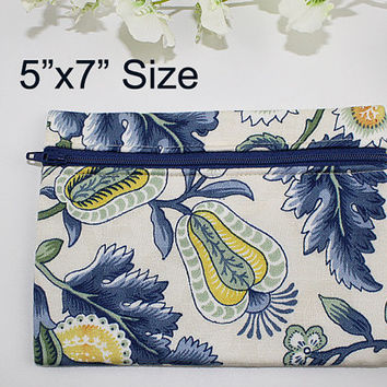 Blue Floral Zipper Pouch, Zipper Bag, Makeup Bag, Jacobean Floral Print, ZS101
