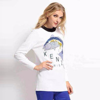 Fish and Letter Print Long Sleeve Sweatshirt