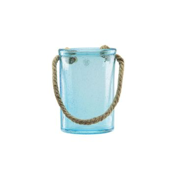 "8"" Transparent Blue Hand Blown Bubble Glass with Jute Handle"