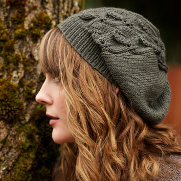 Laurelwood Beanie - lightweight slouchy sport weight lace panel beanie Knitting Pattern PDF
