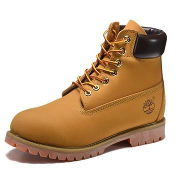 Best Deal Online Timberland 10061 Leather Lace-Up Boot Men Women Shoes Yellow