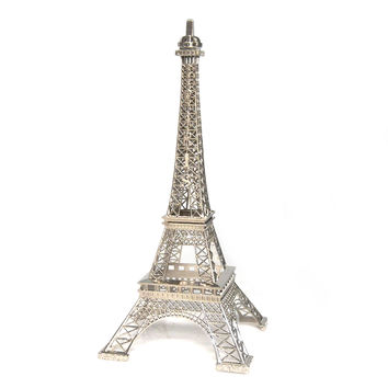 Metal Eiffel Tower Paris France Souvenir, 15-inch, Silver