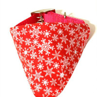 Red & White Snowflake Christmas Winter Monogrammed/Personalized Slip On Dog Puppy Over Collar Bandana Neckerchief Pet Fashion Accessory
