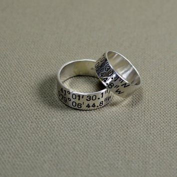 Latitude longitude wedding bands in sterling silver