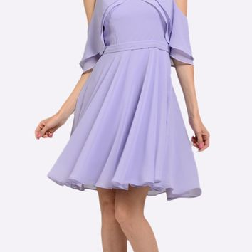 Lilac Short Party Dress Cold Shoulder with Flutter Sleeves