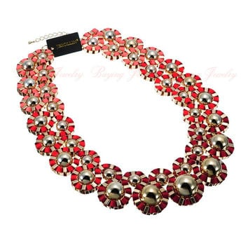 Fashion Gold Chain Metal Chunky Jewelry Mix-color Ribbon Statement Bib Necklace