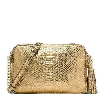 Michael Kors Ginny Large Embossed Leather Crossbody Camera Bag Gold
